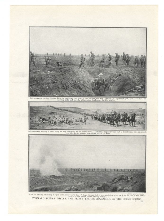 1916 WW1 Print BRITISH MOVEMENTS Somme Sector CASUALTIES First Aid CAVALRY